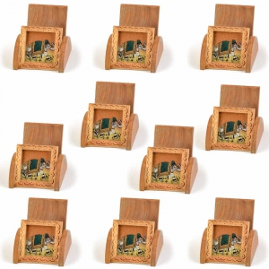 Wholesale Lot of 10 Handicraft Gemstone Painting Wooden Mobile Stands DL5LOT504