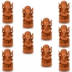 Wholesale Lot of 5 Handcrafted Carved Wooden Lord Ganesha Statues DL5LOT508