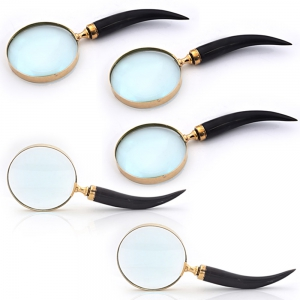 Wholesale Lot of 5 Real Brass Magnifying Glasses with Wooden Handle DL5LOT523