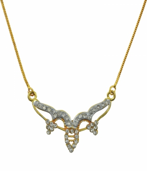 Aakshi Dual Tone Diamond  Necklace AKS_NK_HKM