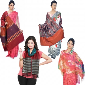 Pack of 4 Traditionally Design Colorful Style Kashmiri Warm Shawls DL5COMB530