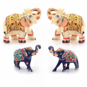 Pack of 4 Decorative Handcrafted Rajasthani Elephant Showpeices DL5COMB540