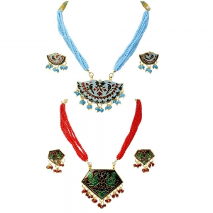 Pack of 2 Traditionally Designed Jaipuri Brass Necklace Earring Sets DL5COMB543
