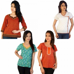 Pack of 4 Colorful Printed Indian Ethnic Wear Cotton Kurti Tops DL5COMB544