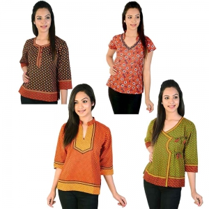 Pack of 4 Printed Ethnic Wear Colorful Jaipuri Cotton Kurti Tops DL5COMB545