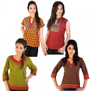 Pack of 4 Printed Colorful Rajasthani Stylish Cotton Kurti Tops DL5COMB547