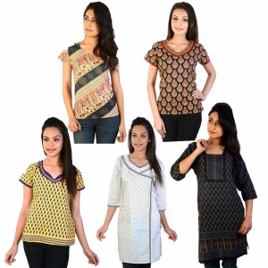 Pack of 5 Colorful Print Traditional Design Stylish Cotton Kurti Tops DL5COMB548