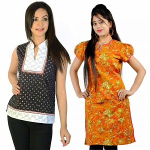 Pack of 2 Graceful Printed Rajasthani Design Fancy Cotton Kurti Tops DL5COMB550