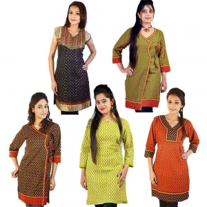 Pack of 5 Colorful Traditional Design Printed Cotton Kurti Tops DL5COMB552