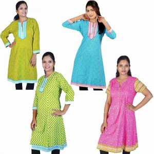 Pack of 4 Printed Charming Design Comfortable Cotton Kurti Tops DL5COMB553