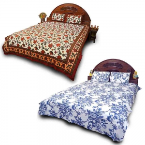 Pack of 2 Designer Barmeri Design Print Pure Cotton Double Bedsheets DL5COMB562
