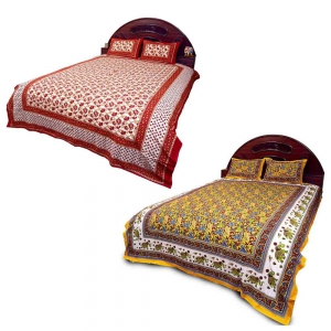 Pack of 2 Rajasthani Design Printed Pure Cotton Double Bedsheets DL5COMB563