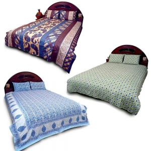 Pack of 3 Designer Traditional Print Pure Cotton Double Bedsheets DL5COMB564