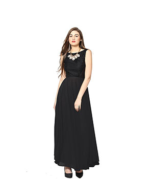 Eavan Black Maxi Dress EA702