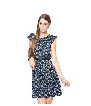 Eavan Black Printed Shift Dress EA715
