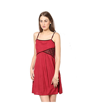 Eavan Maroon Skator Dress EA720