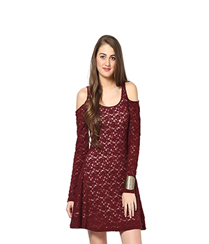 Eavan Maroon Lace Dress EA734