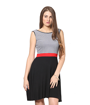 Eavan Black White Fit And Flare Dress EA743
