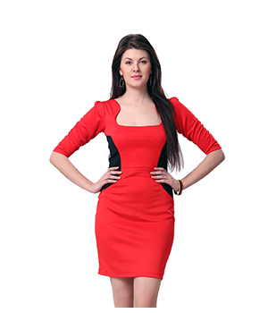 Eavan Red Black Bodycon Dress EA802