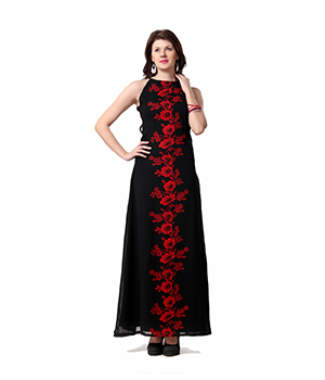 Eavan Black Red Printed Maxi Dress EA808