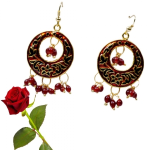 Rajasthani Design Red Brass Ear Ring Brass ear rings Valentine Gift DLV5BER111