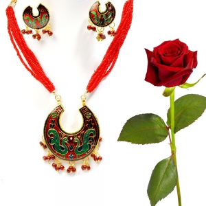 Red and Green Sanganeri Brass Necklace Set Brass Set Valentine Gift DLV5BNS101