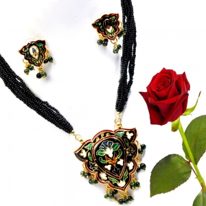 Black Rajasthani Designer Brass Necklace Set Brass Set Brass Pendant DLV5BNS103