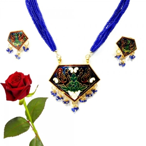 Purple Sanganeri Brass Necklace Set Brass Pendant Valentine Gift DLV5BNS122