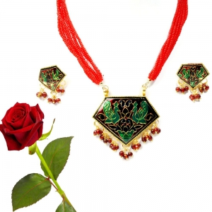 Peacock Design Meenakari Brass Necklace Set Red Valentine Gift DLV5BNS125