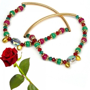Alluring New Red Green Ethnic Artificial Jewellery Brass Payal Anklet Valentine Gift DLV5BPY110