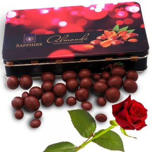 Mouth Watering Sapphire Nutritional Almonds Covered With Milk Choco Valentine Gift DLV5CHO127