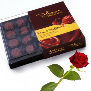Delicious 20 Piece Chocolate Peanut Truffles n Wafer Crusts Pack Valentine Gift DLV5CHO134