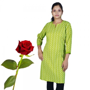 Ethnic Green Printed Light Green Top Green Girls Kurti Valentine Gift DLV5KUR540