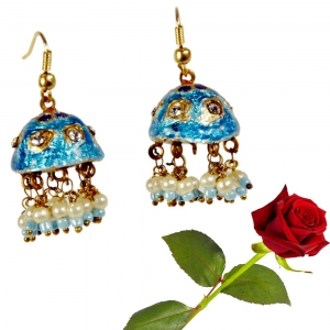 Rajasthani Turquoise Lacquer Jhumka Ear Ring Blue Lacquer ear rings Valentine Gift DLV5LER101
