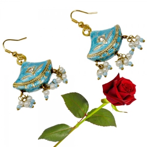 Rajasthani Girls Turquoise Lacquer Ear Ring Ear Rings Ear Ring Valentine Gift DLV5LER134