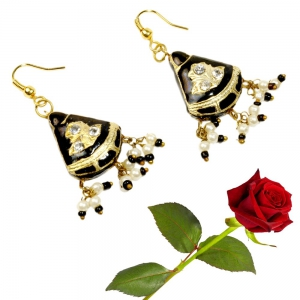 Rajasthani Lacquer Black Fashion Ear Ring Ear Ring jewellery Valentine Gift DLV5LER135