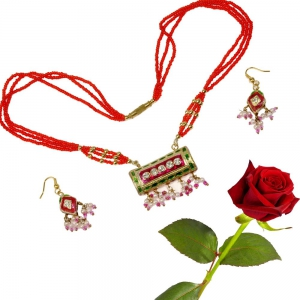 Meenakari Red and Green Lacquer Necklace Set Woman Necklace Jewelry Valentine Gift DLV5LNS181