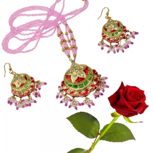 Pink Rajasthani Meenakari Lacquer Necklace Set Fashion Jewellery Valentine Gift DLV5LNS183