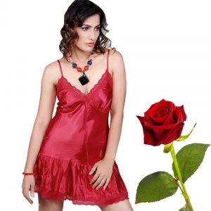 Seductive Maroon Satin Baby Doll Night Frock Maroon Nightwear DLV5NTW533