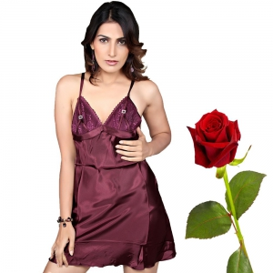 Fancy Wine Mermaid Naughty Night Frock Wine Sleepwear Valentine Gift DLV5NTW566