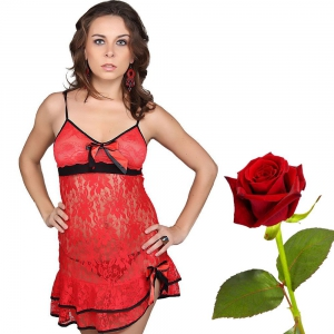 Red Frock Style Fishy Net Ladies Night Frock Seductive Red Nightwear DLV5NTW568
