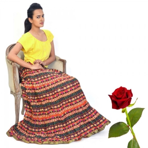 Jaipuri Trendy Flower Printed Layer Design Multicolor Long Skirt Valentine Gift DLV5SKT308