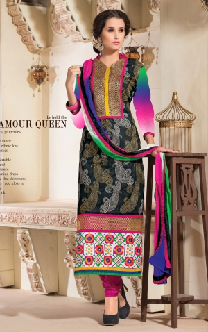 Varanga Black Exclusive straight fit Dress material with matching dupatta K-MST9003