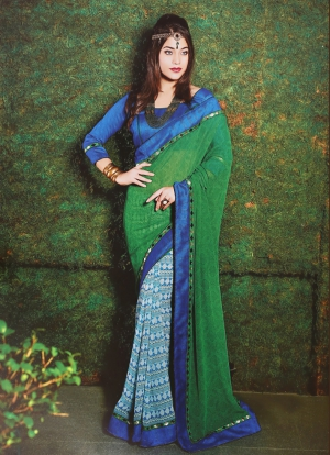 Riti Riwaz Green and Blue saree with unstitched blouse SRA5009