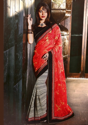 Riti Riwaz Red and Black saree with unstitched blouse SRA5010