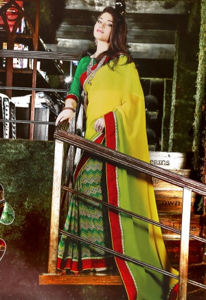 Riti Riwaz Yellow and Green saree with unstitched blouse SRA5011