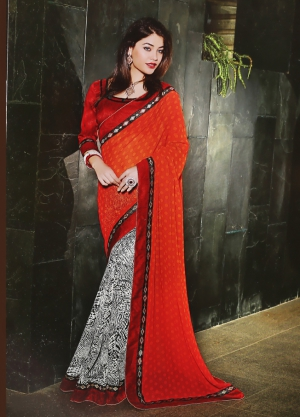 Riti Riwaz Orange and Black saree with unstitched blouse SRA5014