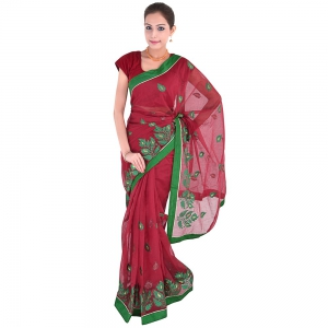 Special Floral Booti Embroidery Work Maroon Color Supernet Saree DLI5SRJ286