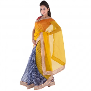 Floral Design And Fancy Border Golden Color Supernet Wedding Saree DLI5SRJ289