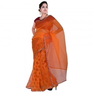 Designer Colorful Gota Patti Lehariya Print Orange Super Net Saree DLI5SRJ294
